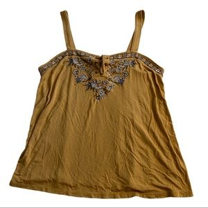 American Eagle Mustard Embroided Tank
